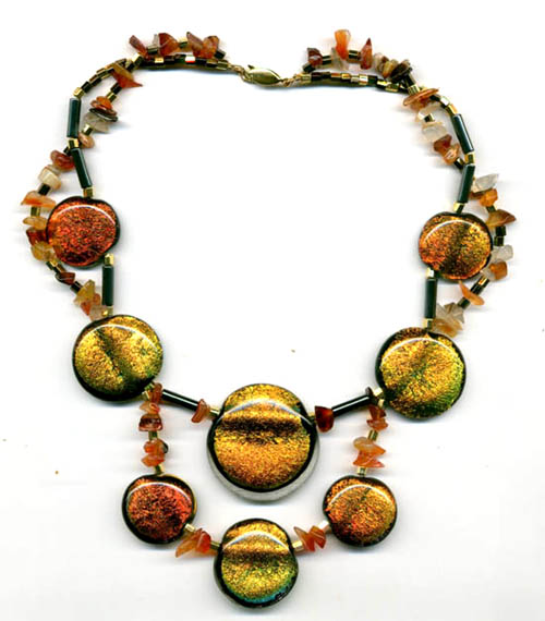 amber coloured fused dichroic glass necklace