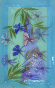 Judith Bohm-Parr, 'Blue Flowers' fused and slumped glass plate