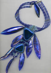 cobalt blue glass necklet - leaf shapes