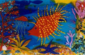 orange coral reef fish cast and slumped glass plate