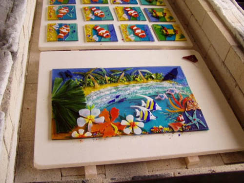 Glass plates for wedding gifts in kiln ready for fusing