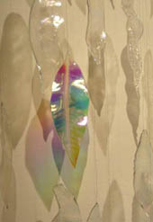 large art piece - hanging glass leaves