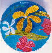 mosaic glass plate, tropical flowers