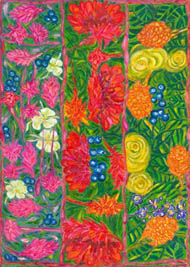 Jill Booth, pure silk wrap, 'Ginger Flowers'