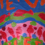 Painting of red birds and fish on a dark blue background - hand made megaphone
