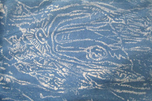indigo dyes, printed with cave motif - blues