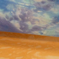 Landscape painting on silk - orange earth in foreground,  white clouds in blue sky at top of painting