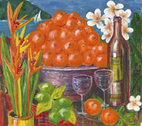 Piles of bright orange tangerines are flanked by heliconias, a bottle of wine and two glasses adding to the mood of celebration.