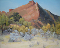 Josephine's painting of the McDonnell Ranges near Alice Springs
