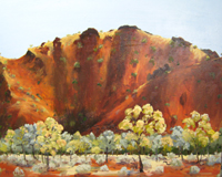 The red Mc Donnell Ranges near Alice Springs