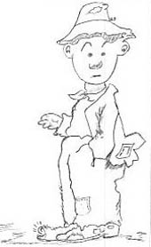 cartoon sketch of man with one hand in  the pocket of his worn overalls