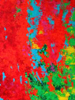 Bright orange coral against a green and blue sea - acrylic painting.