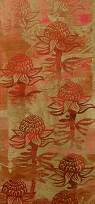 Linda Jackson, 'Waratah' fabric length screen printed with dyes