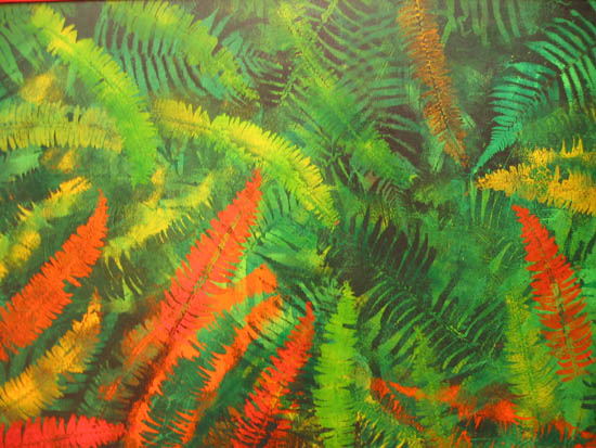 'Rainbow Colours', leaf patterns stencilled - fern leaves in oranges and greens