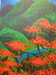 Linda Jackson acrylic painting of poinciana trees