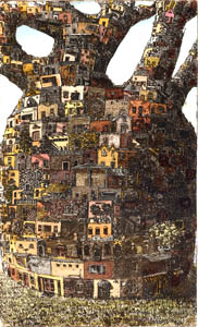 Leon Pericles, 'Treehouse', hand coloured etching on paper