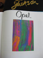 Beginning of opal section in the book.