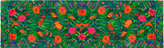 'Opal Rainforest' - long silk scarf , greens with reds and oranges as contrast