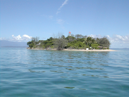 View of Low Isles at the approach to the lagoon - lighthouse in centre of island