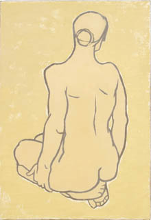 Mary Ann Runciman, pencil outline of back of nude female figure, sitting on heels