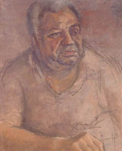 Portrait in oil of man sitting