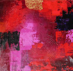Marie Simberg-Hoglund, 'Three', abstract acrylic, reds and pinks.