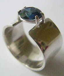 Michael's blue sapphire ring in solid sterling silver