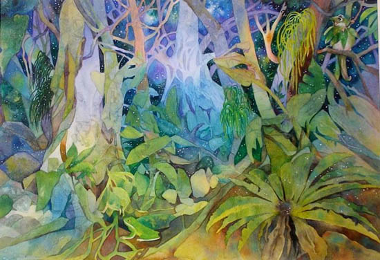 Forest scene - Night of the Fireflies - soft greens and blues