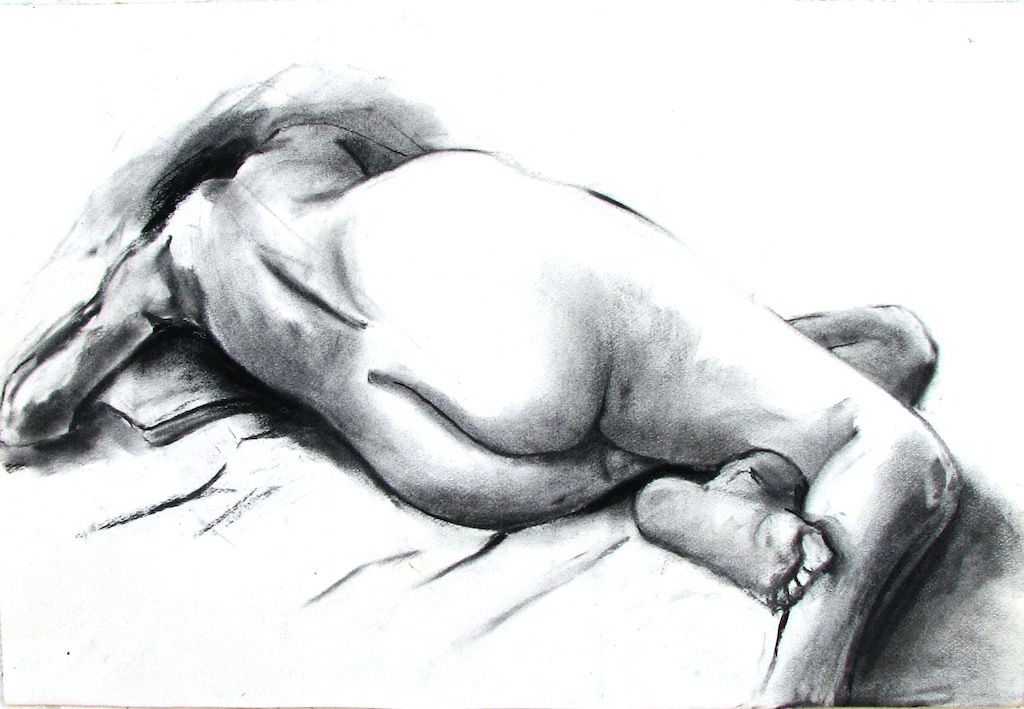 reclining female nude, back view