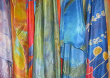 Jill Booth silk scarves hanging together