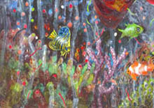 Jill Booth - detail of tropical fish swimming amongst coral - from 'Coral Dreaming' painting collage