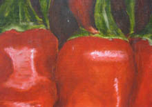 Michael Edwards detail from painting of red peppers