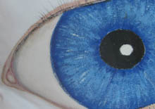 Michael Edwards painting on cushion of a bright blue eye