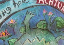 Terry Johnson, detail of a turtle and waterlilies in Achtung painting