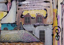 Detail from a Yoshiko Kirby painting of a Japanese town