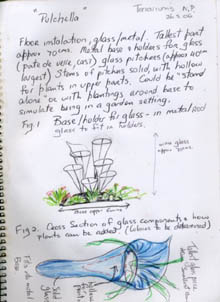 Detailed sketches of blue lily sculpture with added pencil notes