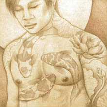 Ross Bannister, 'Opium' - etching of man with Koi fish tattoos