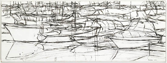 Pen and ink sketch of boats in the marina - Mary Ann Runciman