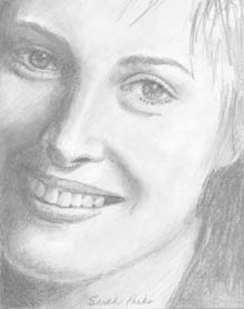 smiling girl, pencil drawing
