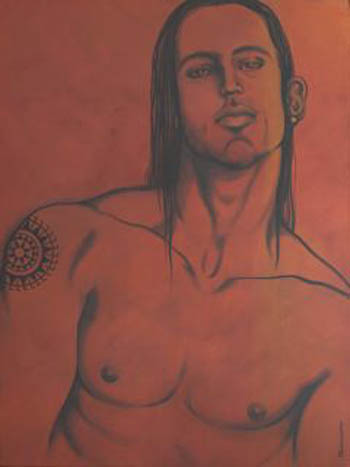 'Tahitoa The First Warrior', acrylic on canvas