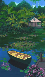 'Batu Jimba' oil painting, dinghy in foreground, lake and house behind