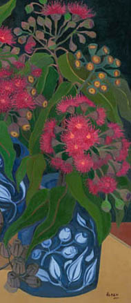 'Blood Gum' - still life, red flowering gum in blue leaf patterned vase