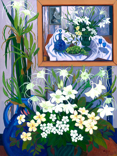 Still life with Eucharist Lilies - homage to Margaret Olley