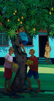 Children climb a mango tree, collecting mangoes for their mother, watching from nearby house.
