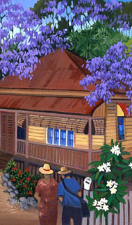 Jacaranda tree in full bloom, its purple canopy shading a Queenslander house.
