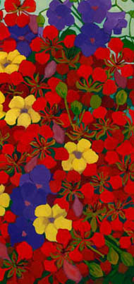 Close-up of red poinciana flowers, offset with purple morning glory and yellow flowers