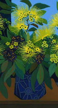 Golden penda flowers in dark blue vase