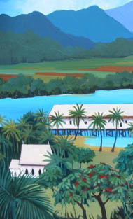 Tania Heben, 'The View' - Port Douglas inlet with church and sugar wharf