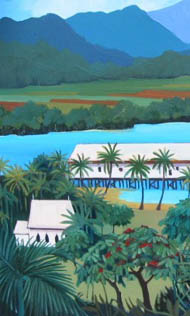 Looking from the hill in Port Douglas across to the inlet, church and sugar wharf in middle ground.