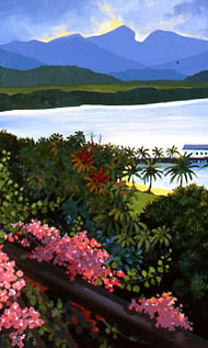 View across the inlet in Port Douglas,  pink bougainvillea in foreground